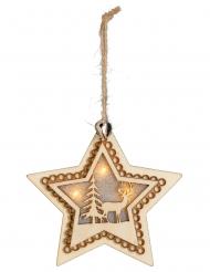 Suspension en bois étoile 4 LED 10 cm