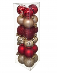 18 Boules de noël rouge et or 3 cm