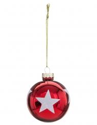 Boule de noël rouge avec étoiles ou flocons 6 cm modèle aléatoire