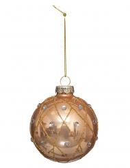 Boule de noël dorée avec strass et paillettes 7 cm
