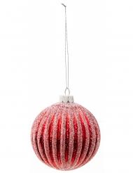 Boule de noël rouge rayures blanches 8 cm