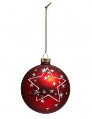 Boule de noël rouge avec étoile 8 cm