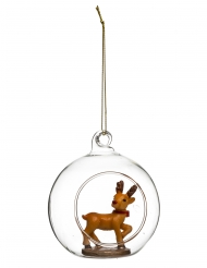Boule de noël en verre avec renne 8 cm