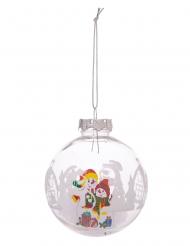Boule de noël transparente personnages de Noël 8 cm modèle aléatoire