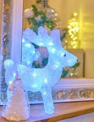 Renne blanc lumineux 28 x 30 cm