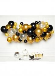 Kit arche de 66 ballons en latex noir et or