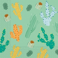 20 Serviettes en papier home compostable cactus 33 x 33 cm