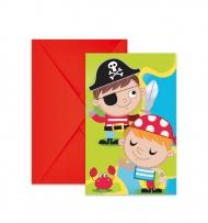 6 Cartons d'invitation et enveloppes chasse au trésor pirate 14 x 9 cm