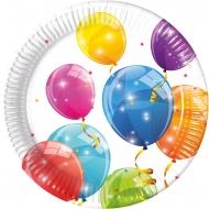 8 Assiettes en carton recyclable ballons colorés 23 cm