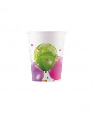 8 Gobelets en carton ballons colorés 200 ml