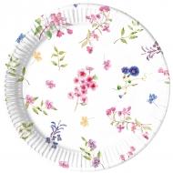 8 Assiettes en carton fleurs des champs 23 cm