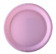 10 Assiettes en carton rose pastel 22 cm