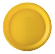 10 Assiettes en carton jaune 22 cm