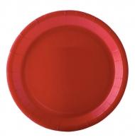 10 Assiettes en carton rouge 22 cm