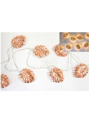 Guirlande lumineuse rose gold feuilles tropicales 1,65 m