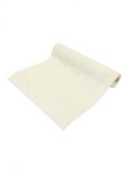 Chemin de table intissé effet coton crème 28 cm x 5 m