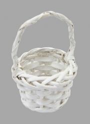 Petit panier en saule naturel blanc rond 11,5 cm x 7 cm