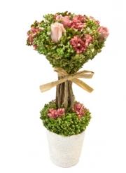 Composition fleurs séchées et roses blanches sur tige dans un pot 18 cm X 8 cm