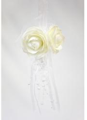 Suspension blanche rose et perles 44 x 11 cm