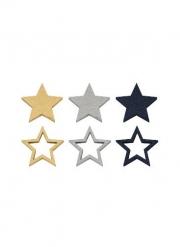 12 Confettis de table en bois étoiles marine et or 2,4 x 2,4 cm