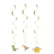 3 Suspensions spirales Dino Party 85 cm