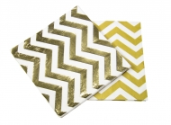 20 Serviettes en papier chevrons or 33 x 33 xm