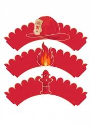 6 Habillages moules à cupcake Pompier