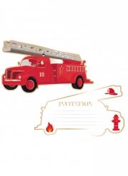 8 Cartes d'invitation camion de pompier 17 x 9,5 cm