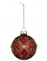Boule de noël rouge arabesques dorées 7 cm