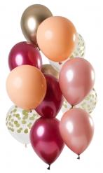 12 Ballons en latex rubis et or 30 cm
