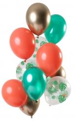 12 Ballons en latex Tropical métallisé 30 cm