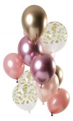 12 Ballons en latex rose gold et or 30 cm