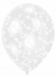 6 Ballons confettis cloches et colombes 27 cm