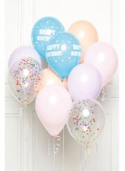 Bouquet 10 ballons en latex Happy Birthday pastel DIY 27 cm