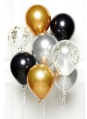 Bouquet 8 ballons noir, or et argent DIY 27 cm