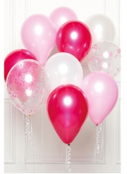 Bouquet 10 ballons en latex rose DIY 27 cm