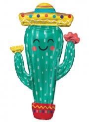 Ballon géant en aluminium cactus en fête 96 cm