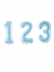 Ballon géant chiffre bleu pastel 86 cm