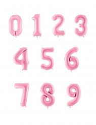 Ballon géant chiffre rose pastel 86 cm