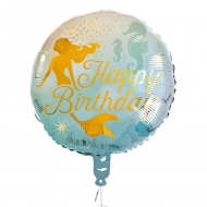 Ballon aluminium Happy Birthday sirène 45 cm