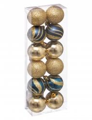 12 Boules de noël bleues et dorées 4 cm