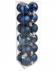 18 Boules de noël bleues 3 cm