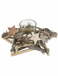 Photophore avec support en bois étoile 20 x 8 cm