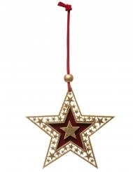 Suspension pour sapin étoile dorée 10 cm