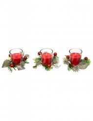 3 Bougies rouges avec sapin et baies 6 cm