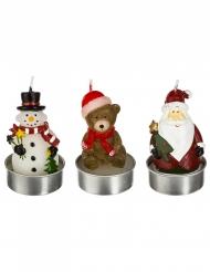 3 Bougies personnages de Noël 7 cm