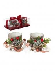 2 Photophores en verre Noël nature 10 cm
