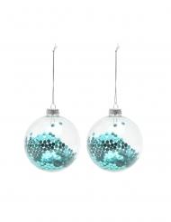 2 Boules en verre avec paillettes bleues 8 cm