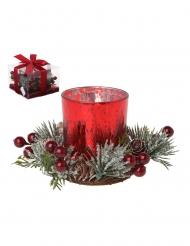Photophore en verre rouge sapin givré et baies 10 cm