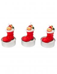3 Bougies botte du Père Noël 5,5 x 3,5 cm
